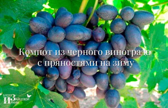 Компот из черного винограда с пряностями