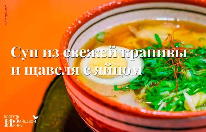 суп из молодой крапивы и шпината с яйцом