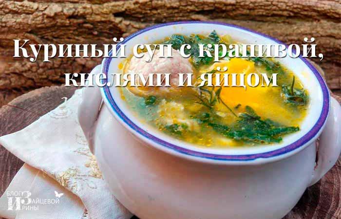 суп с крапивой, кнелями и яйцом